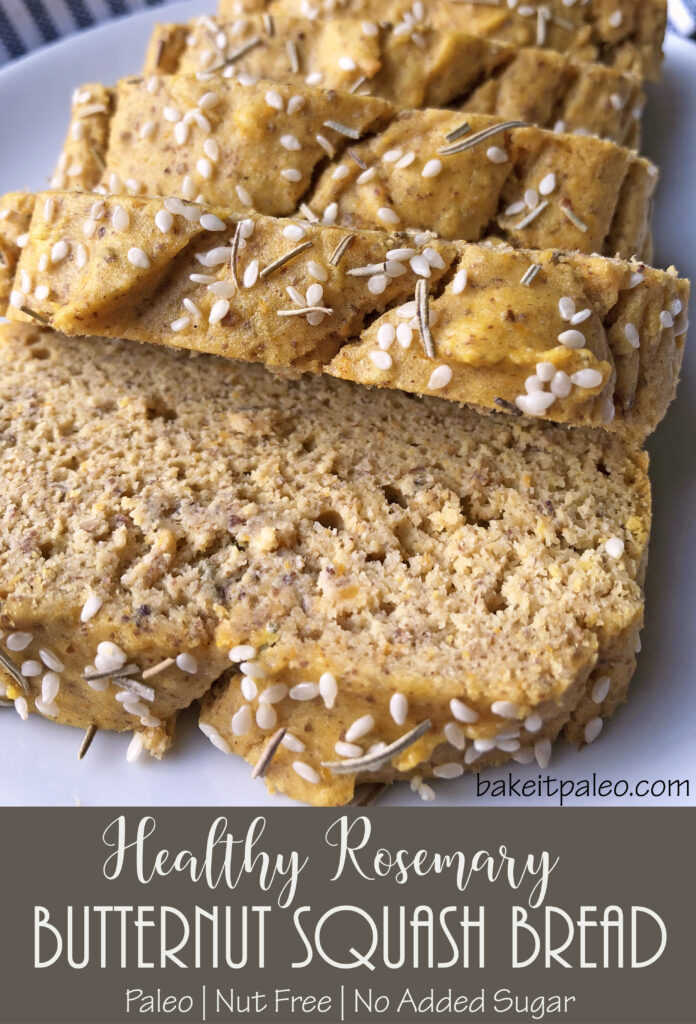 Healthy Gluten Free Rosemary Butternut Squash Bread