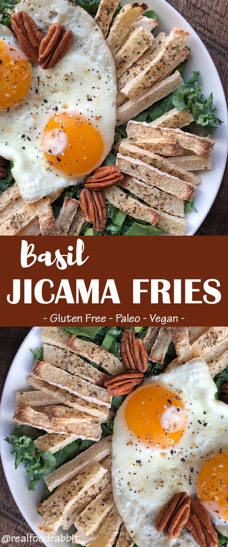 Paleo Oil Free Basil Jicama Fries