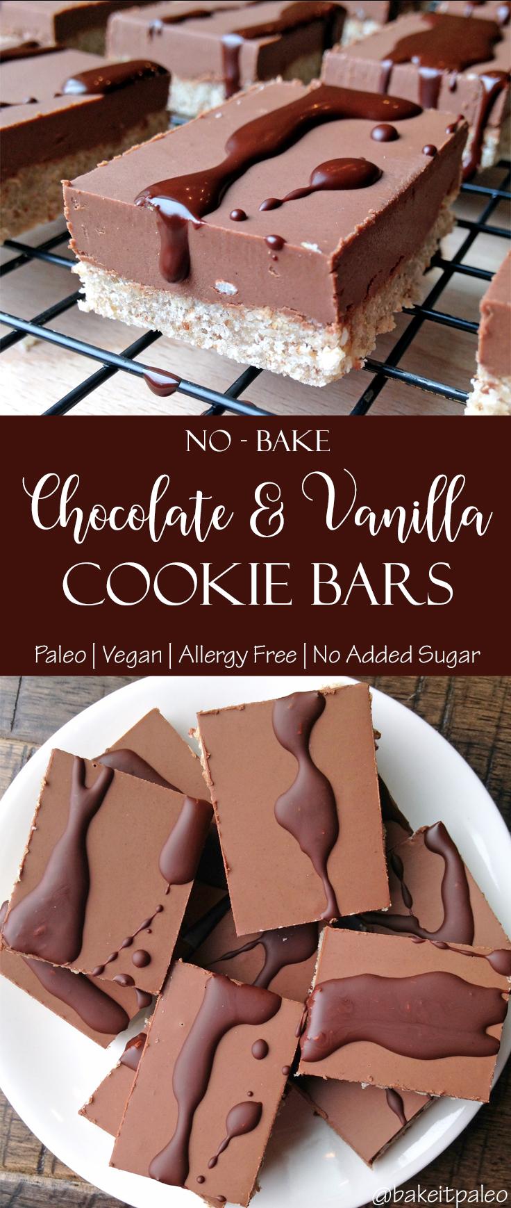 No Bake Chocolate and Vanilla Paleo Cookie Bars