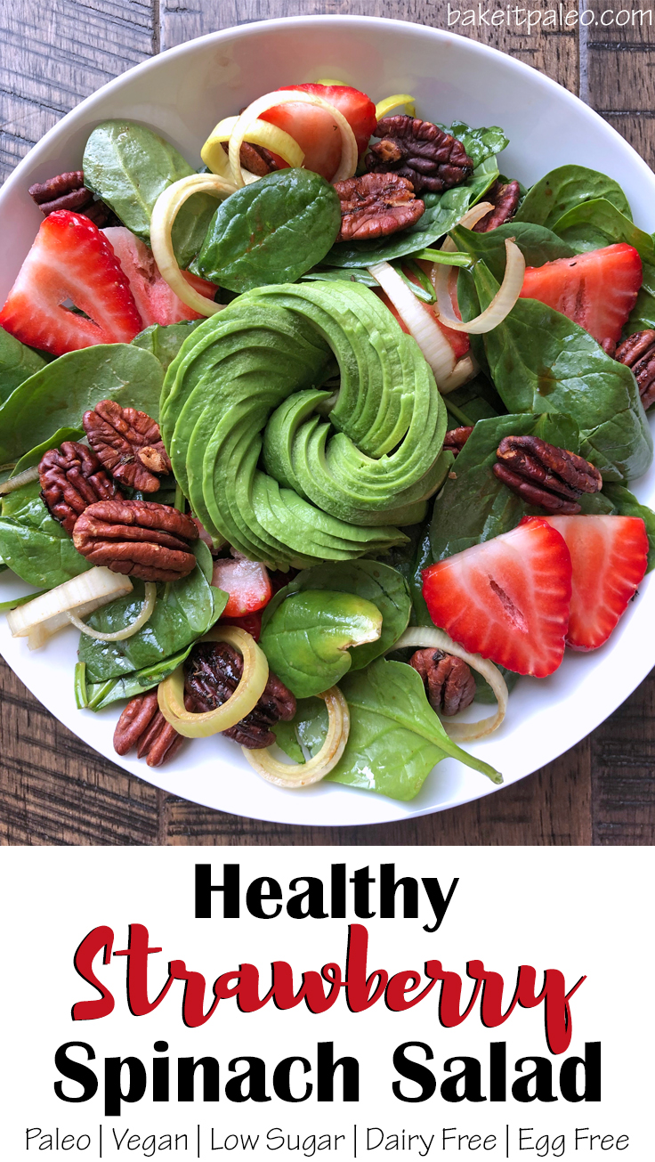 Paleo Strawberry Spinach Salad with Candied Pecans