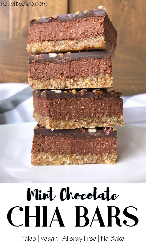 Easy Mint Chocolate Chia Bars Paleo