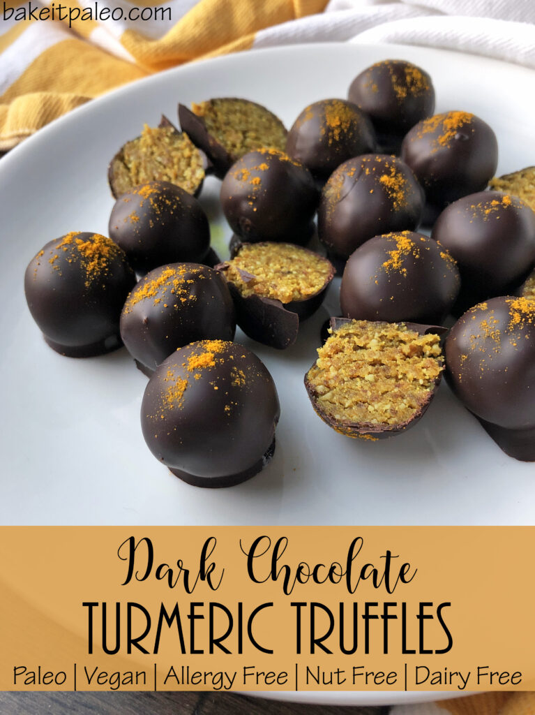 Easy Nut Free Paleo Dark Chocolate Turmeric Truffles