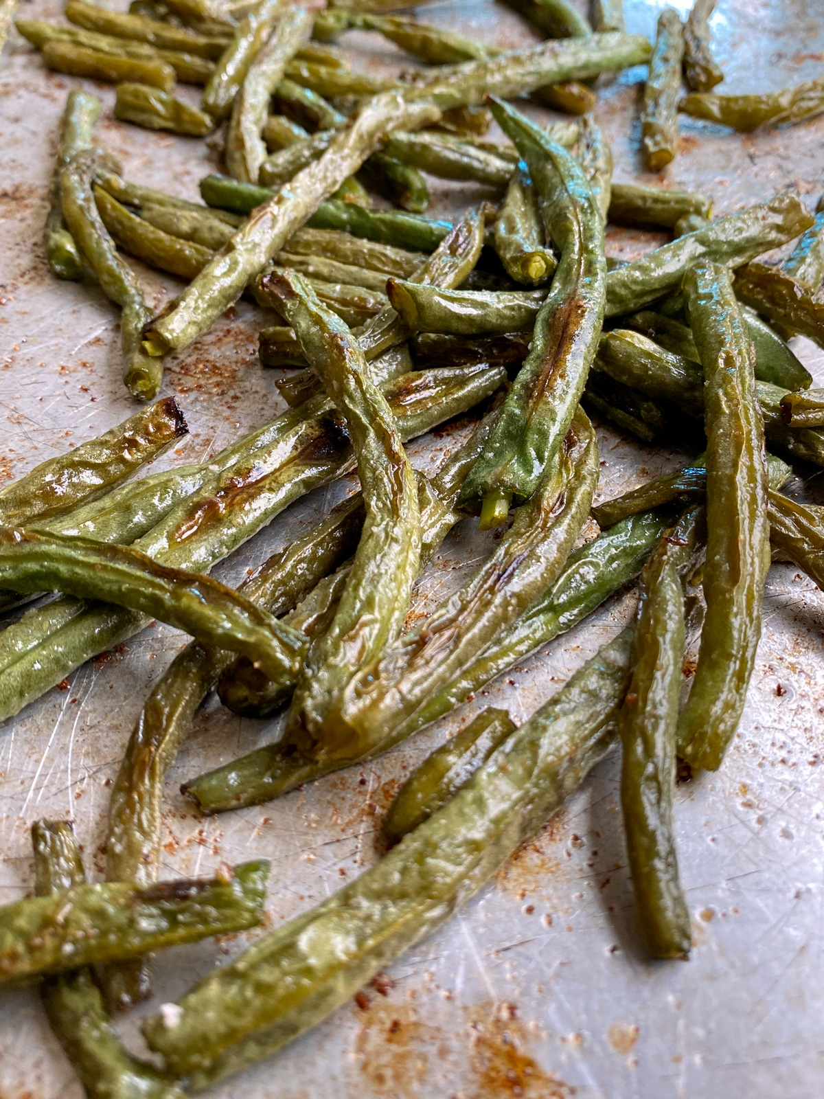 baked green beans on pan