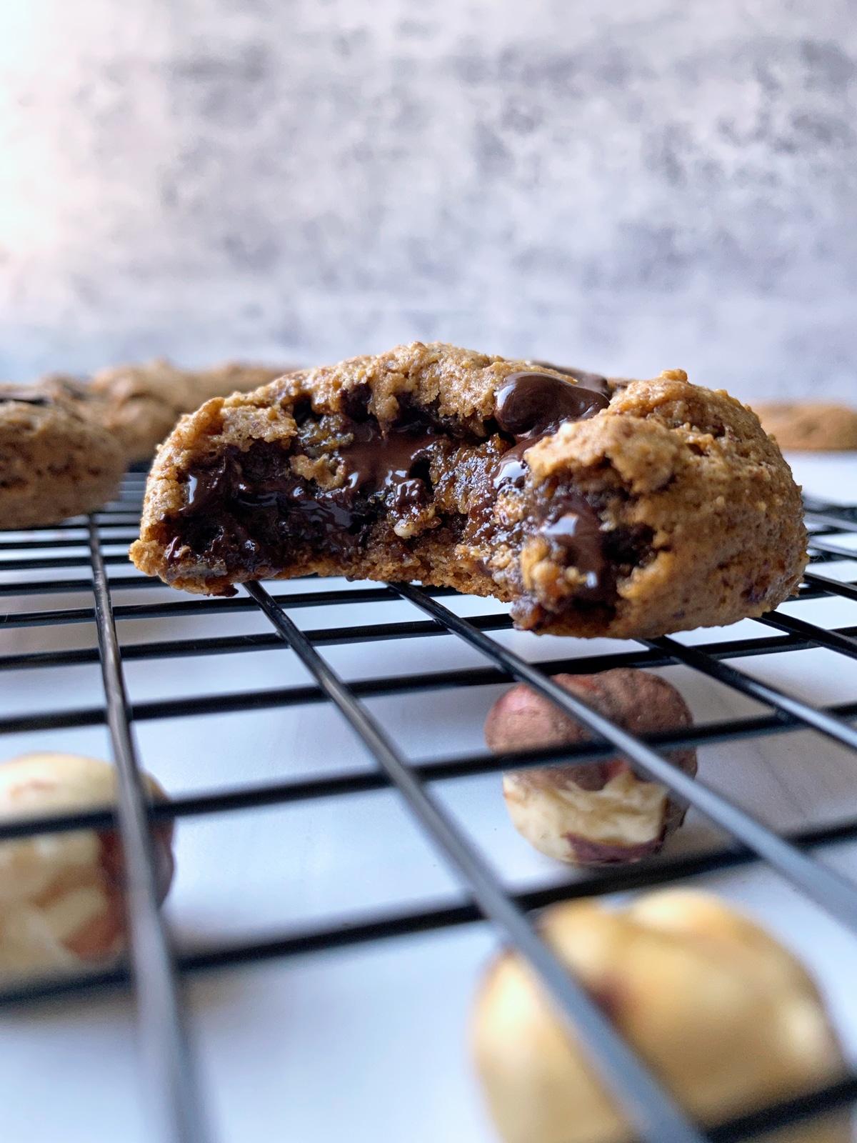 inside shot of gooey hazelnut cookie