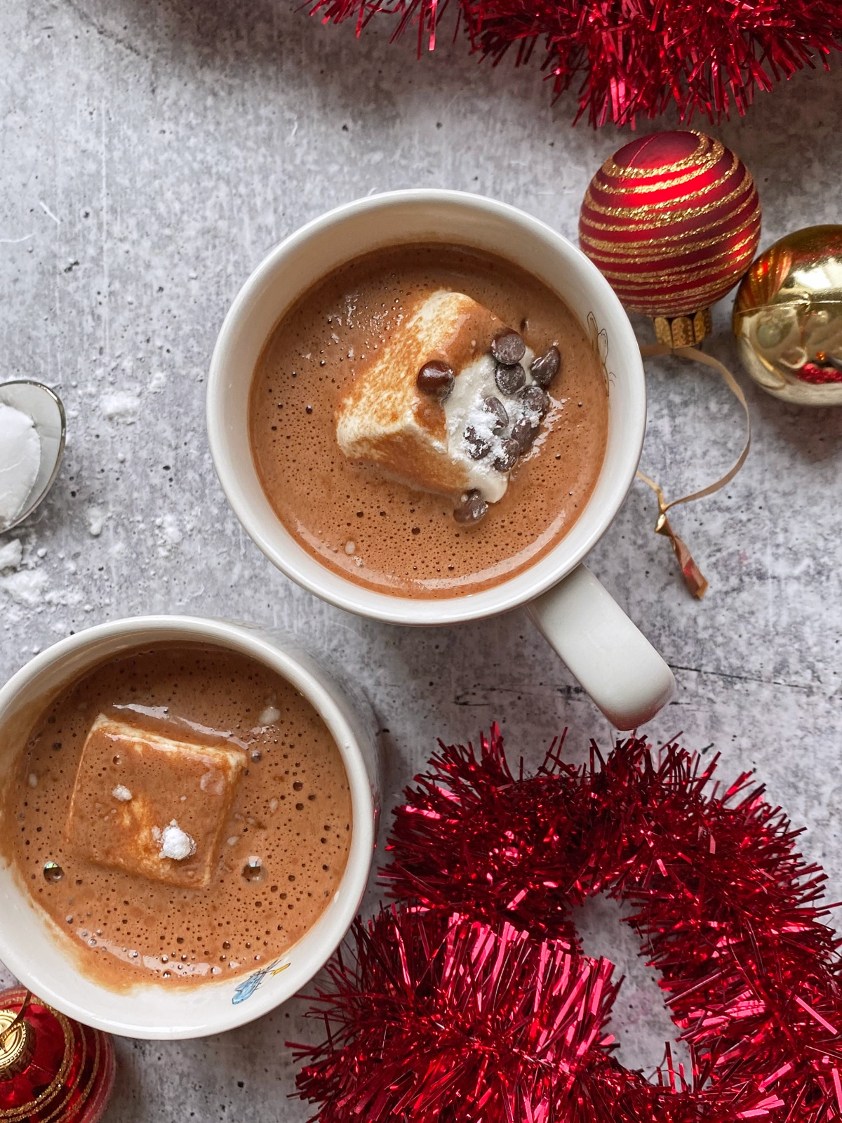 two kid mugs of hot chocolate