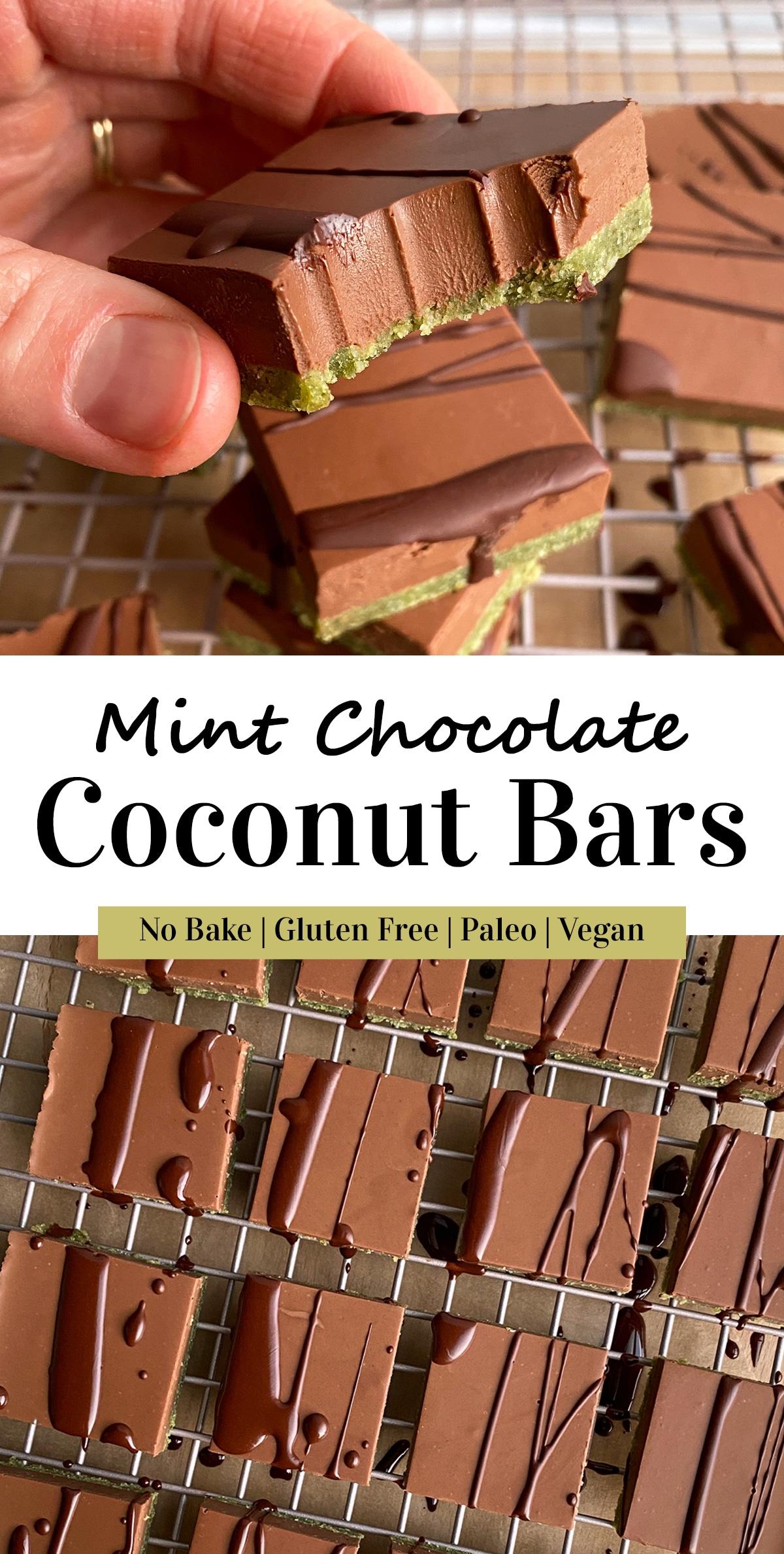 mint chocolate coconut bars pinterest image