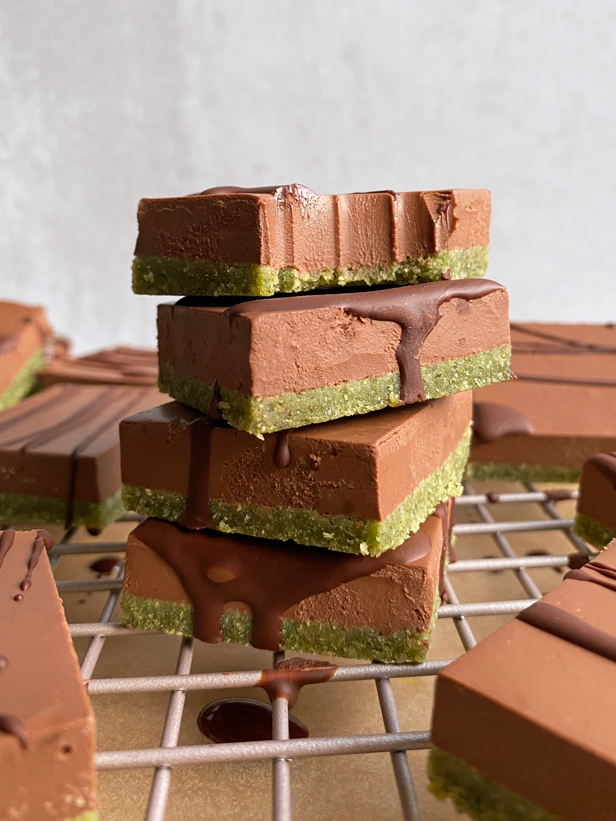 stack of mint chocolate bars
