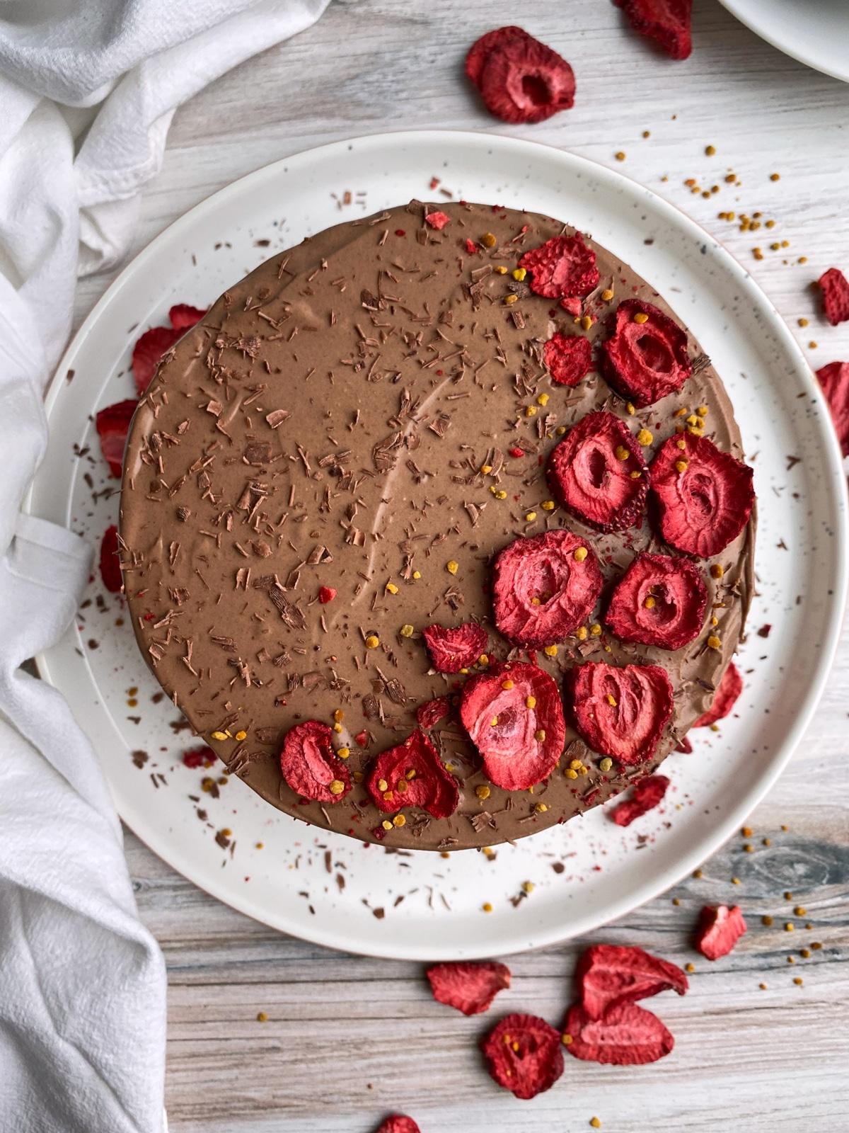 top-view-of-nut-free-paleo-chocolate-cake