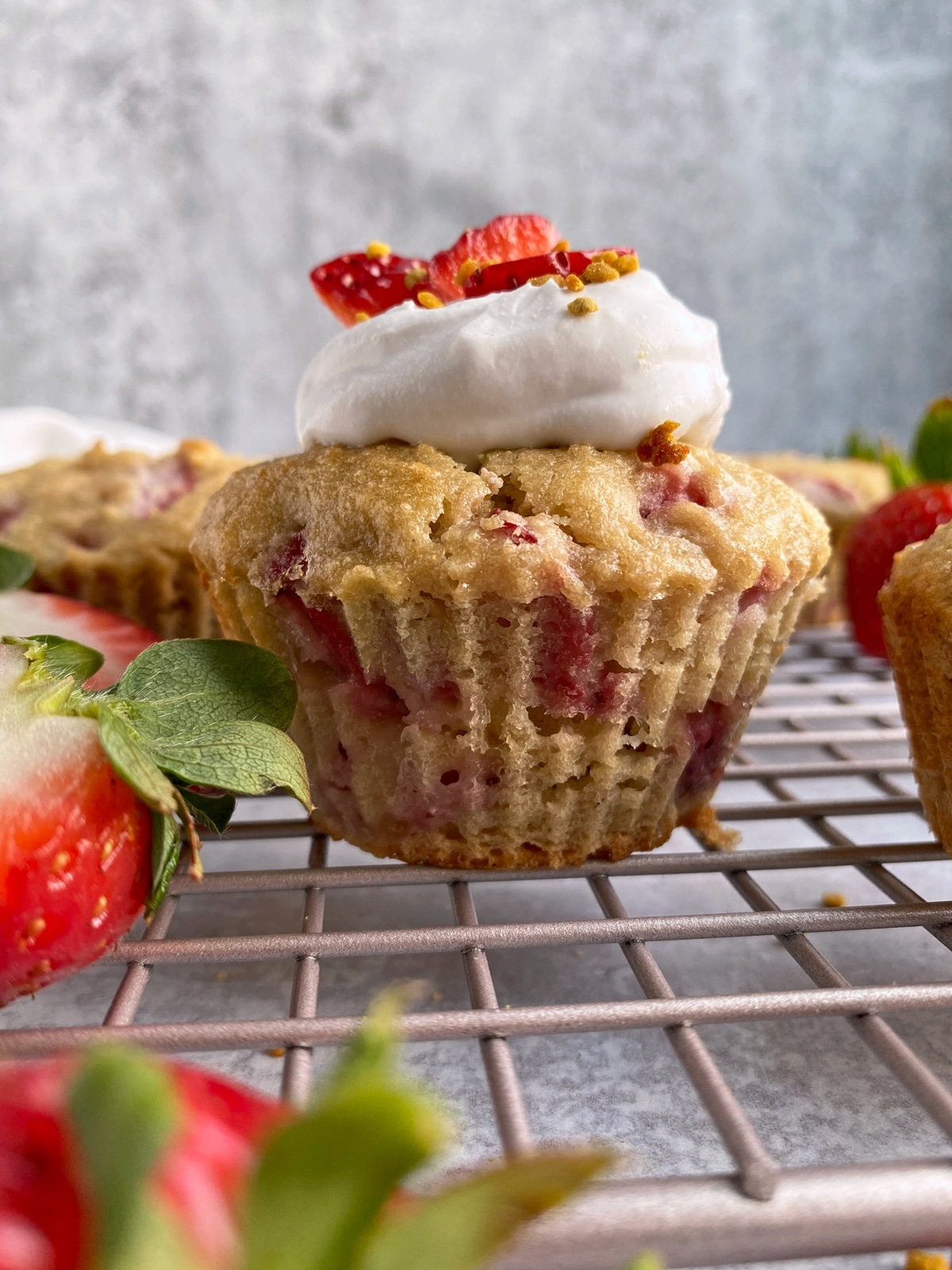 strawberry shortcake muffin topped with coconut cream