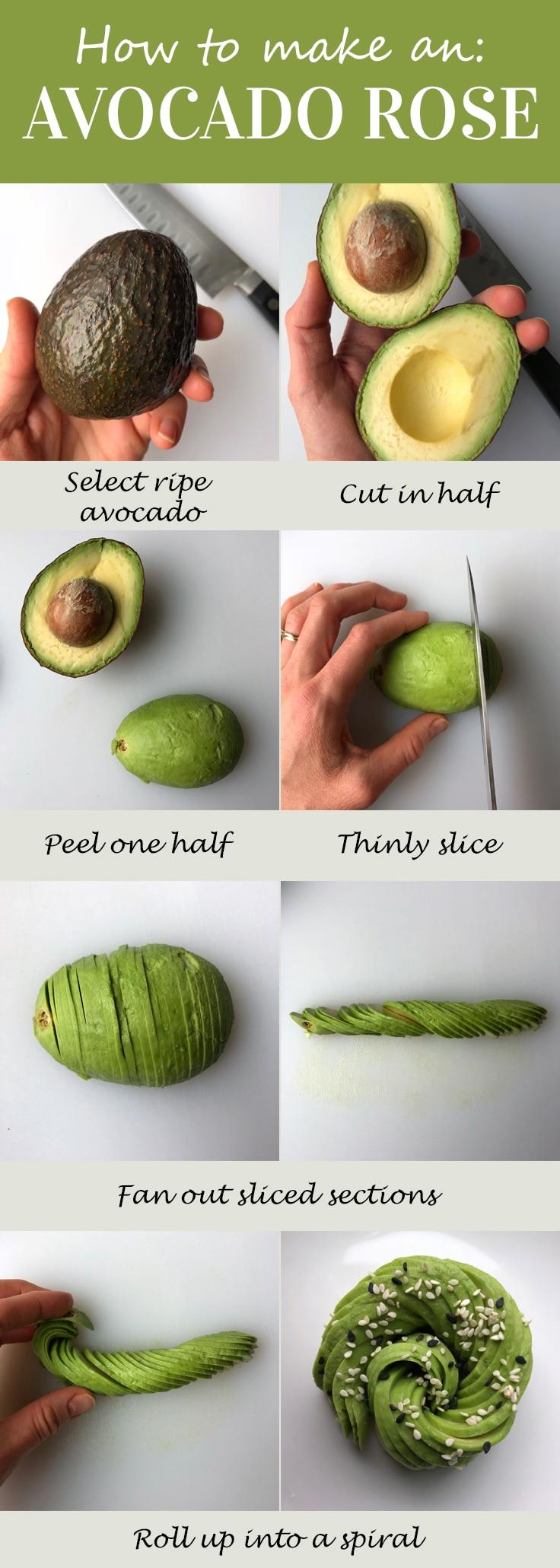 how to make an avocado rose pinterest image