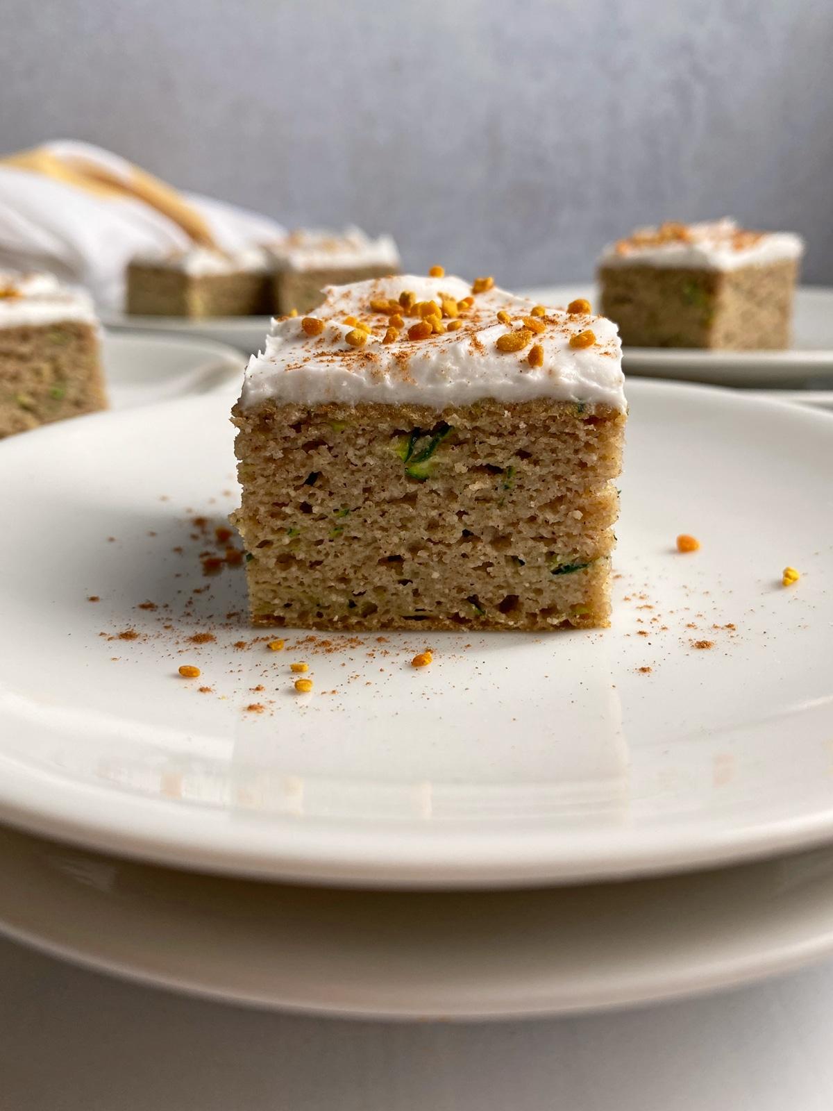 slice of zucchini breakfast cake from side