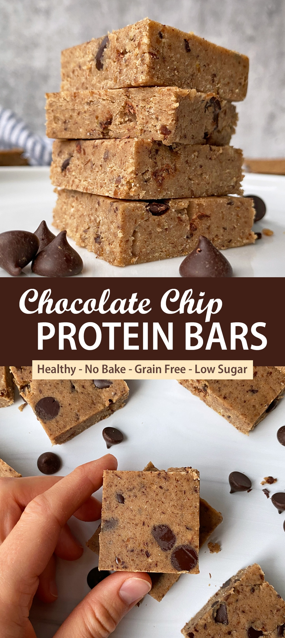 chocolate-chip-cookie-dough-protein-bars-recipe-pinterest image