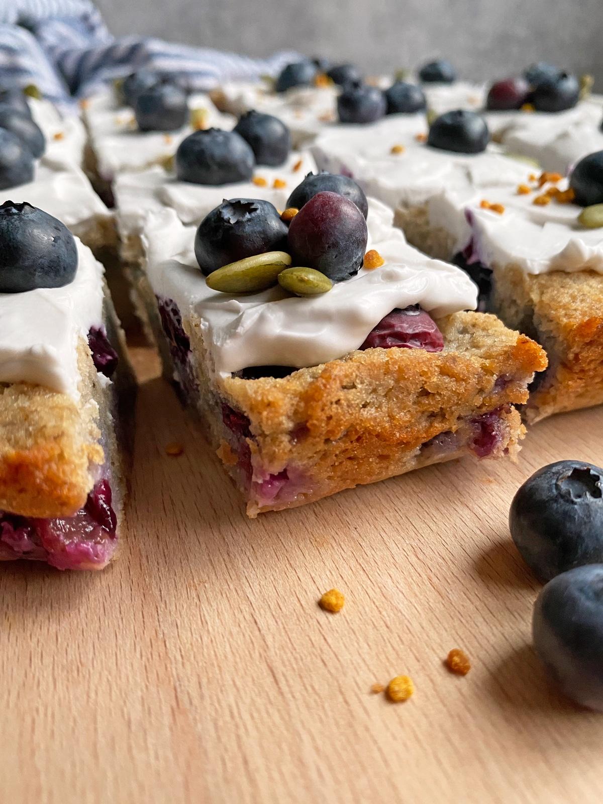 slice of blueberry cake