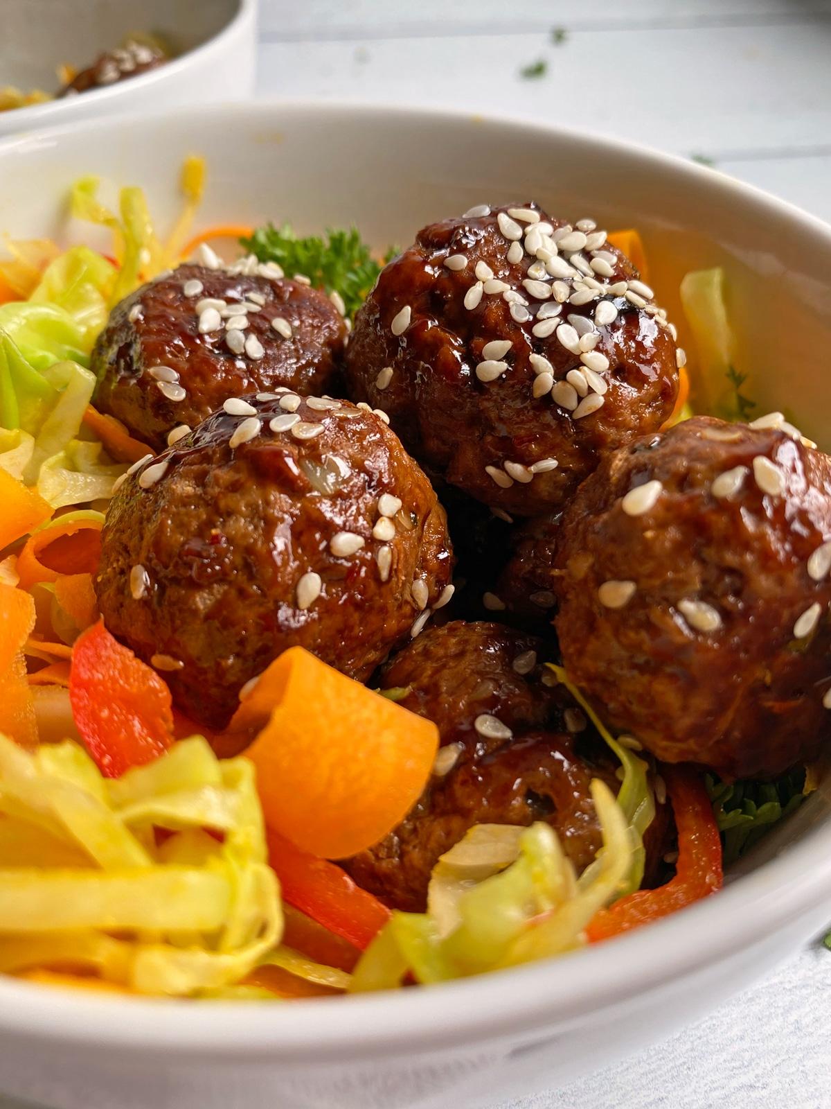 close up of meatballs