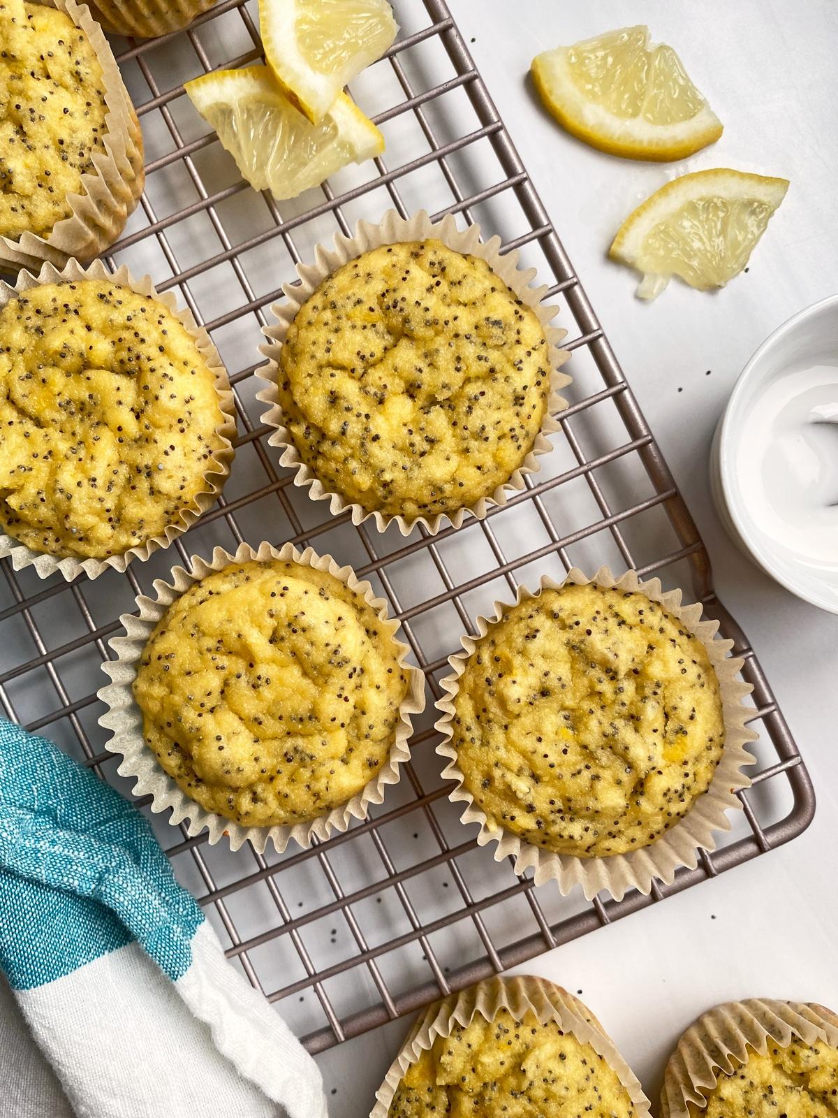 lemon poppy seed muffins on cooling rack