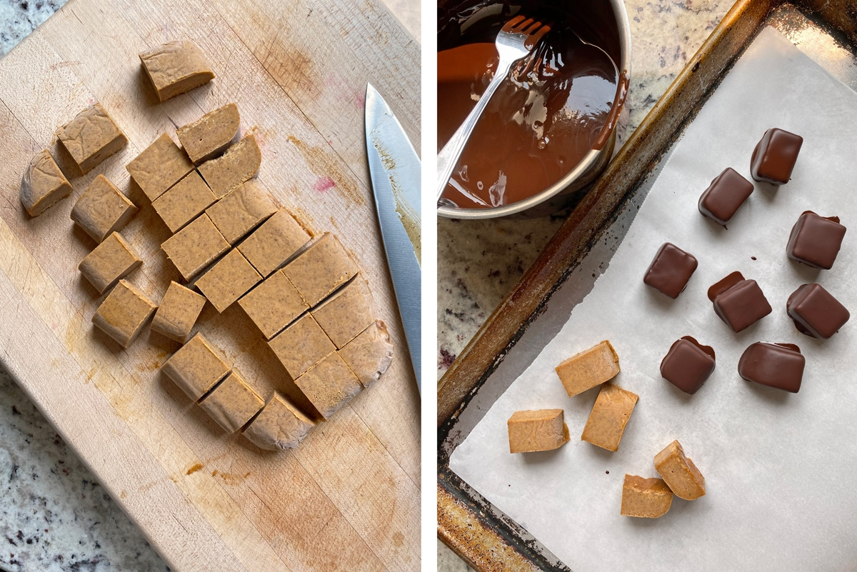 dipping-caramels-in-dark-chocolate