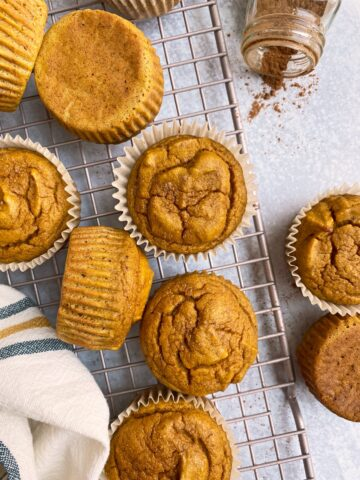 pumpkin protein muffins on wire cooling rack