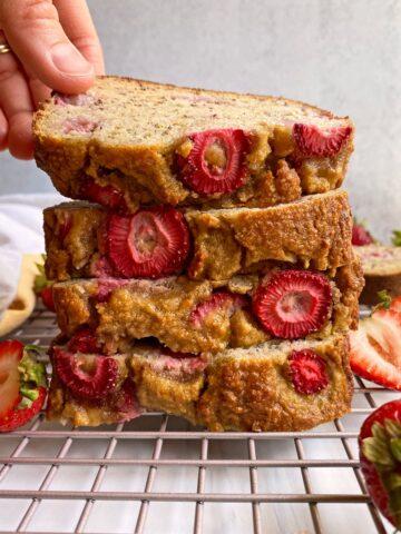 stack of strawberry banana bread