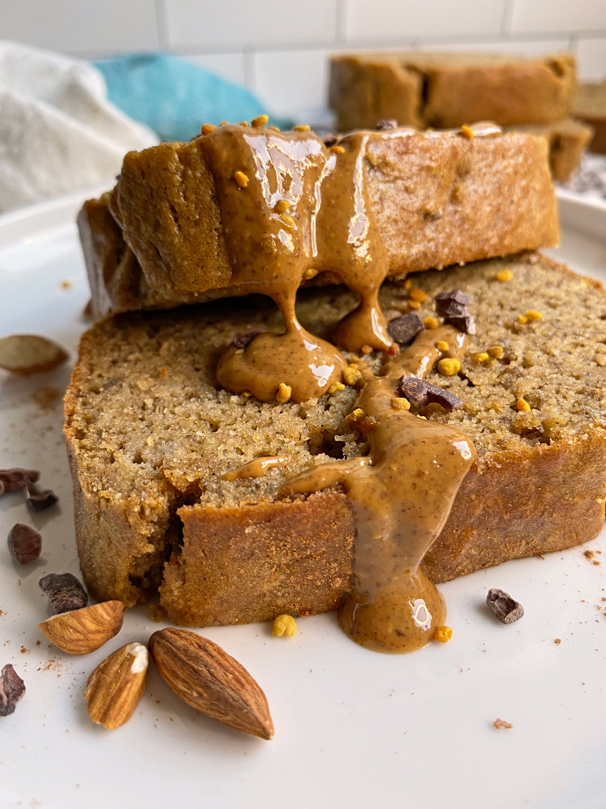banana bread drizzle with almond butter