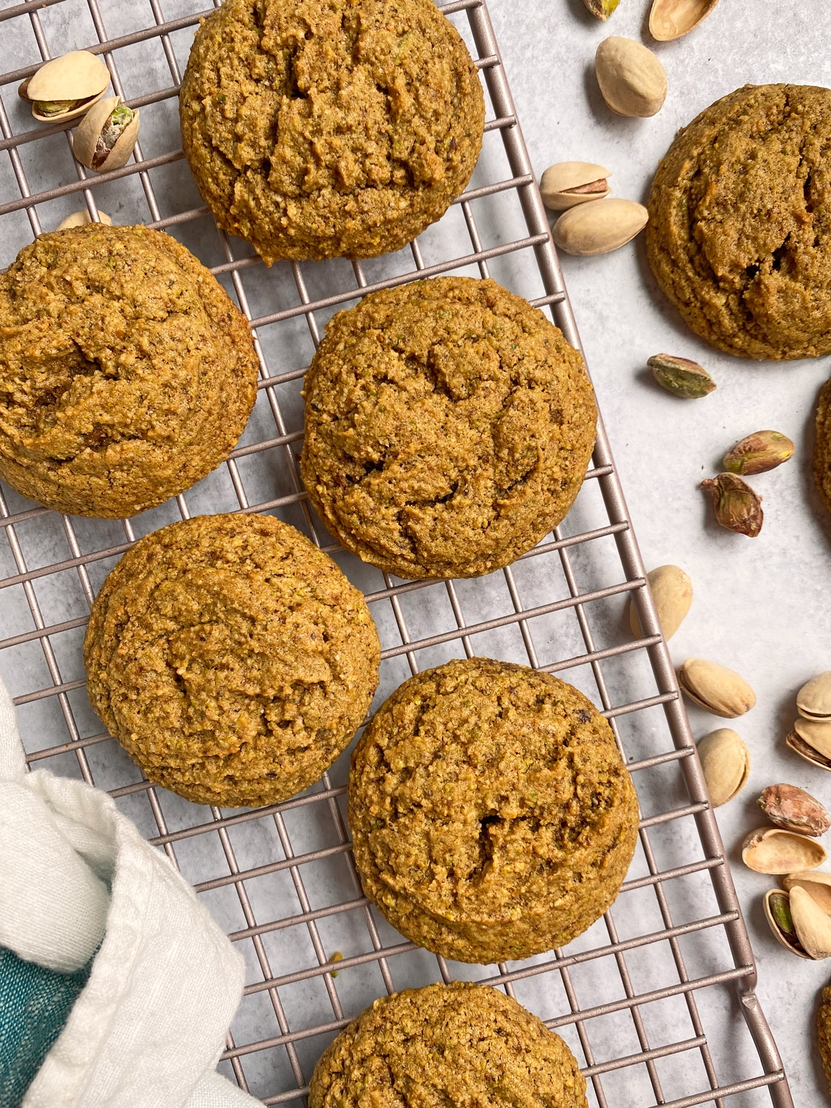 top view of pistachio cookies on cooling rack
