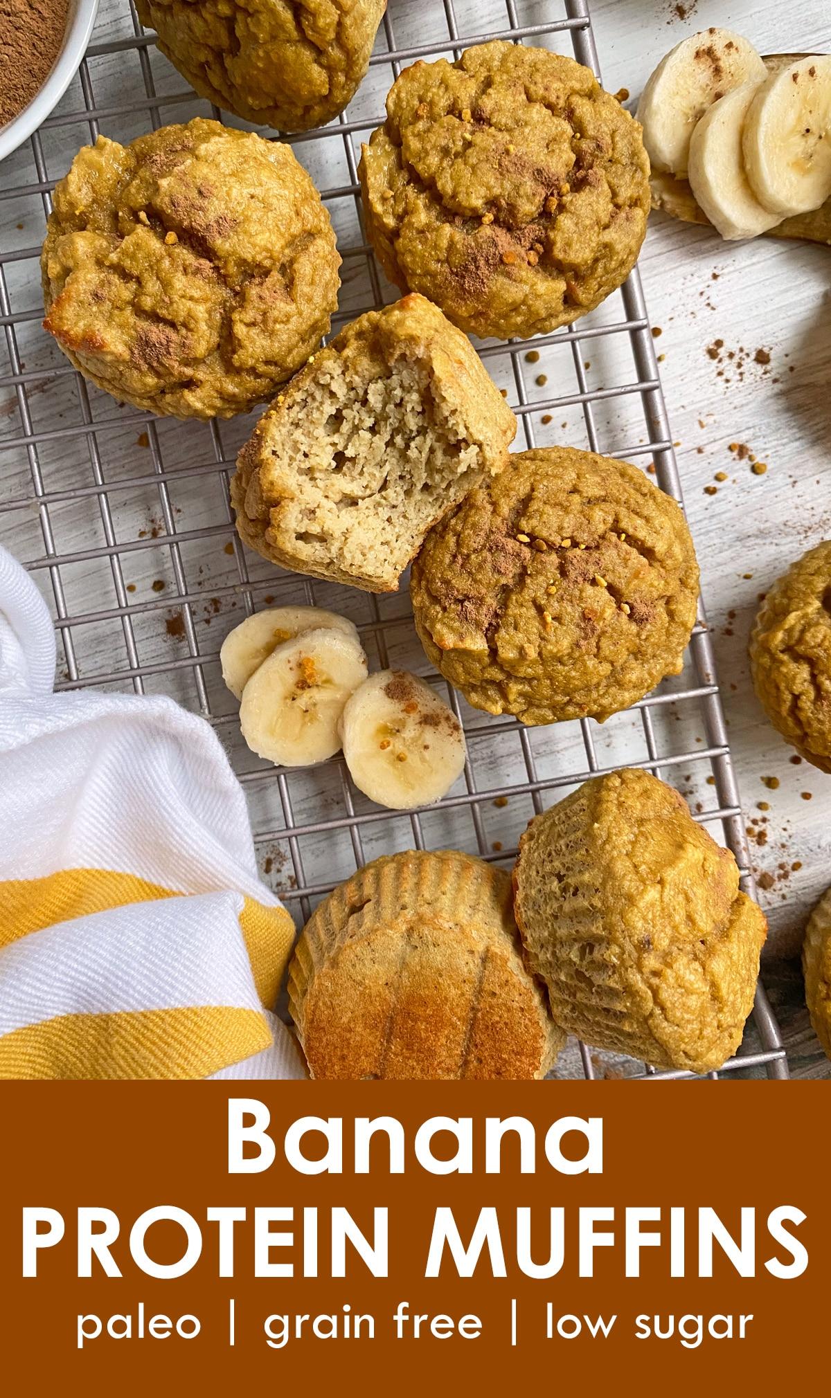 banana protein muffins pinterest image