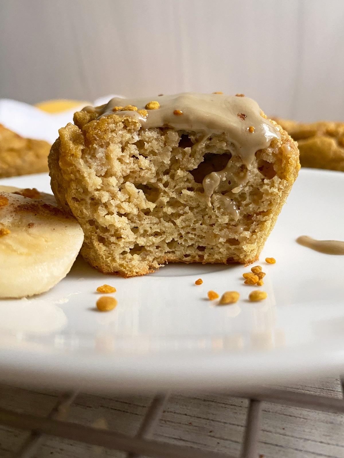 bite shot of banana protein muffin