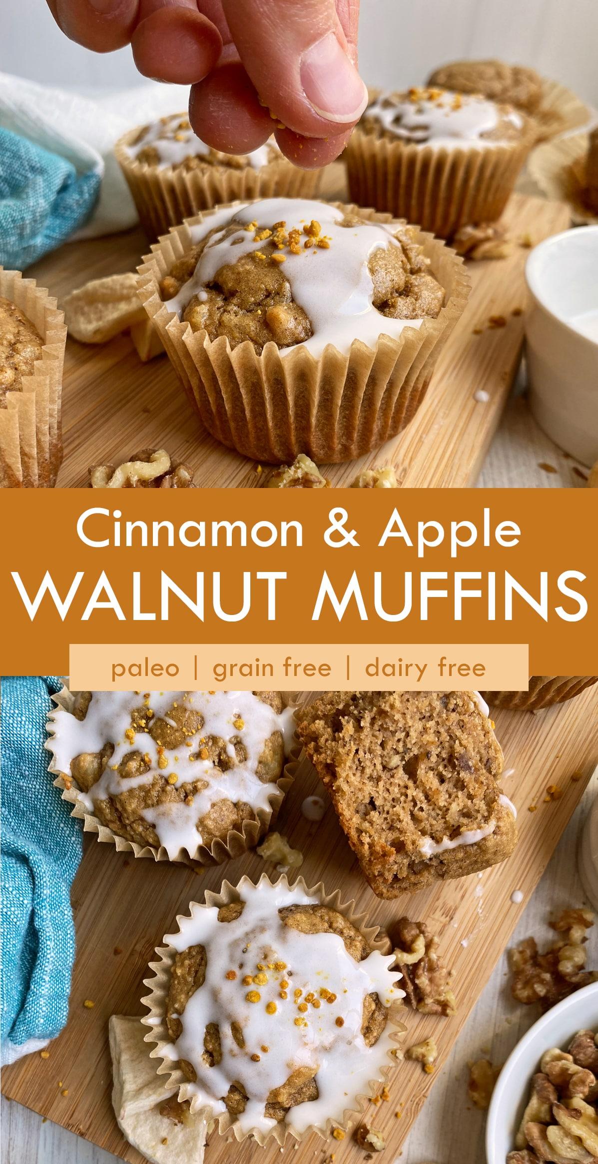 pinterest image for apple walnut muffins